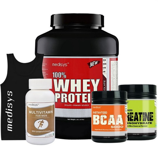 Medisys Bodybuilding Combo Whey Protein Chocolate- 2Kg+Creatine & BCAA [Free- Sando & Multivitamin]